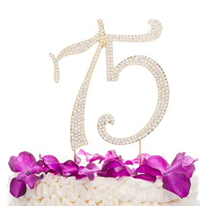 Amazon Ella Celebration 75 Cake Topper For 75th Birthday Or Anniversary Gold Number Party Supplies Decorations Kitchen Dining
