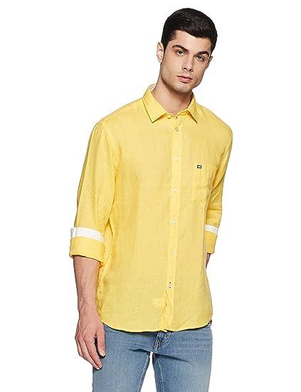 6630adabc9 Arrow Sports Men s Casual Shirt (8907259810690 ASRS3073 46 Medium Yellow)