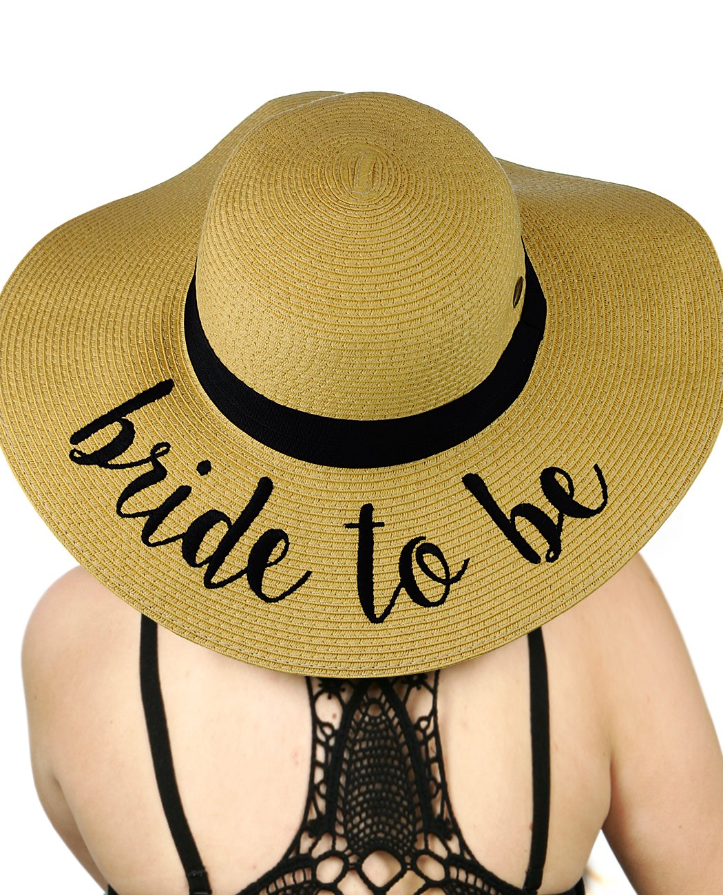 C.C Women's Paper Weaved Crushable Beach Embroidered Quote Floppy Brim Sun Hat, Bride to Be