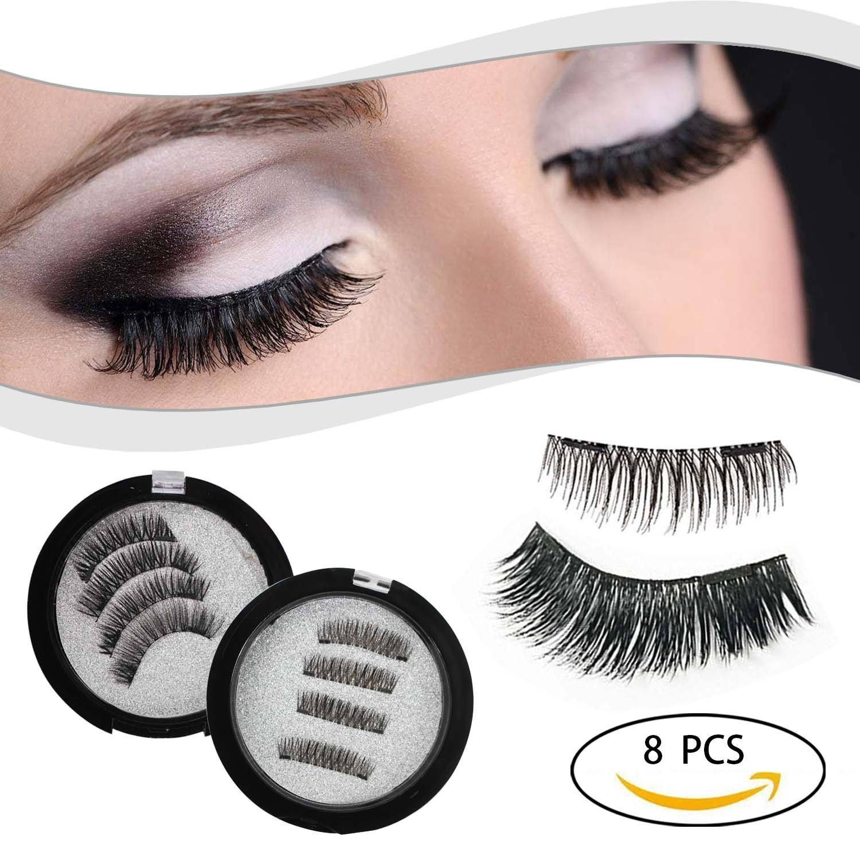 61565a77ed1 Amazon.com : Proteove Reusable Magnetic False Eyelashes - No Glue Mess  Magic 3D Fake Lashes Extension, Ultra Soft & Natural Look & Handmade(2 Pair  8 Piece) ...