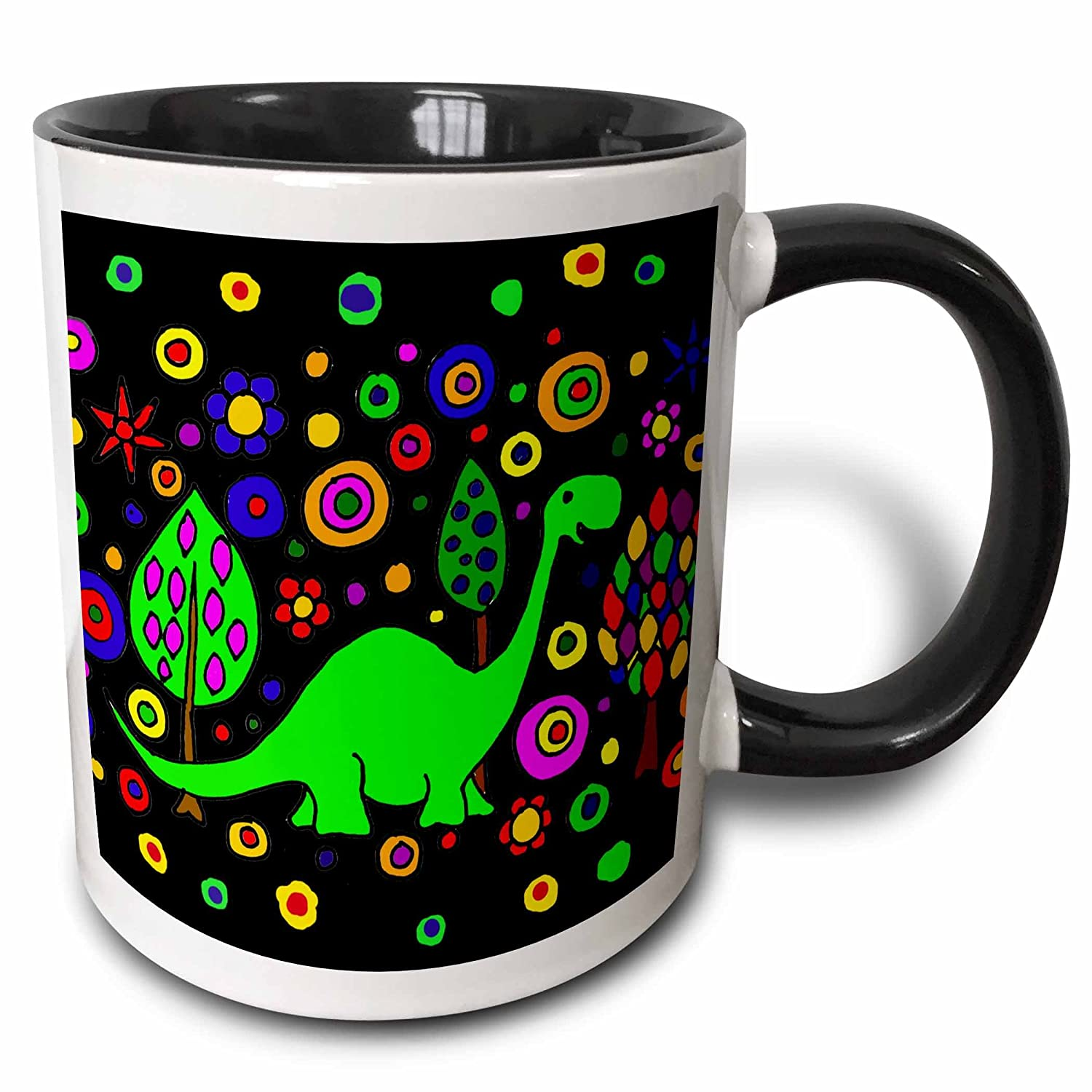 Black 11 oz 3dRose 200113/_4Funny Green Brontosaurus Dinosaur Art Abstract Two Tone Mug
