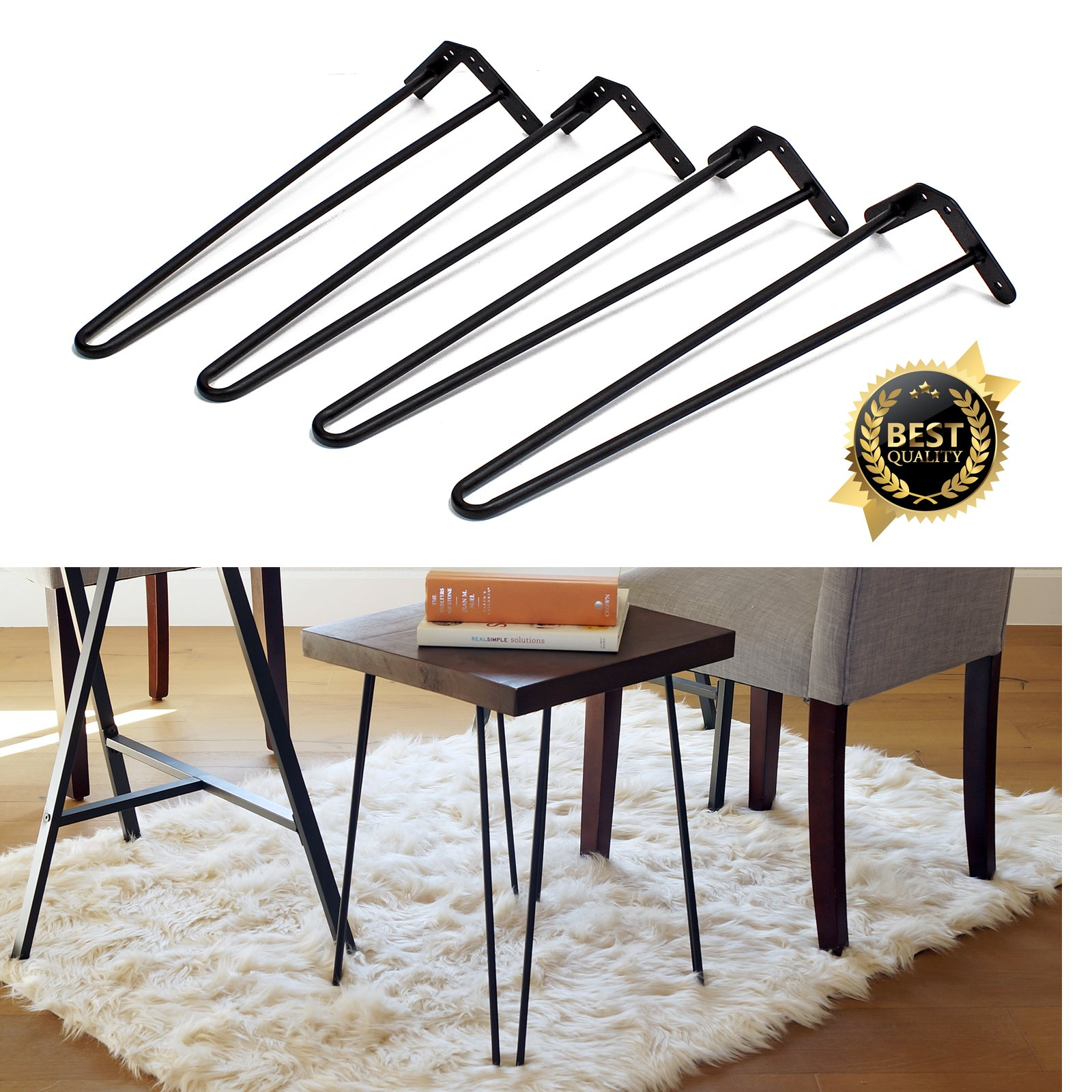 Set of 4 19'' Furniture Hairpin Metal Legs (19-inch) Heavy Duty Use for Wood Tabletop