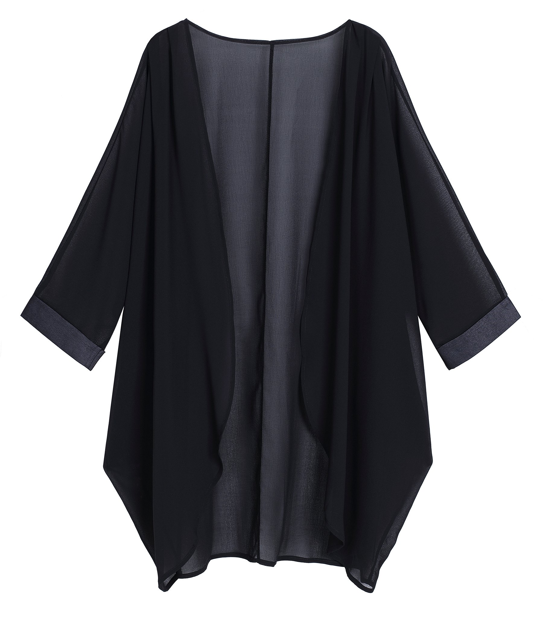 OLRAIN Women's Floral Print Sheer Chiffon Loose Kimono Cardigan Capes (X-Large, Black-1)