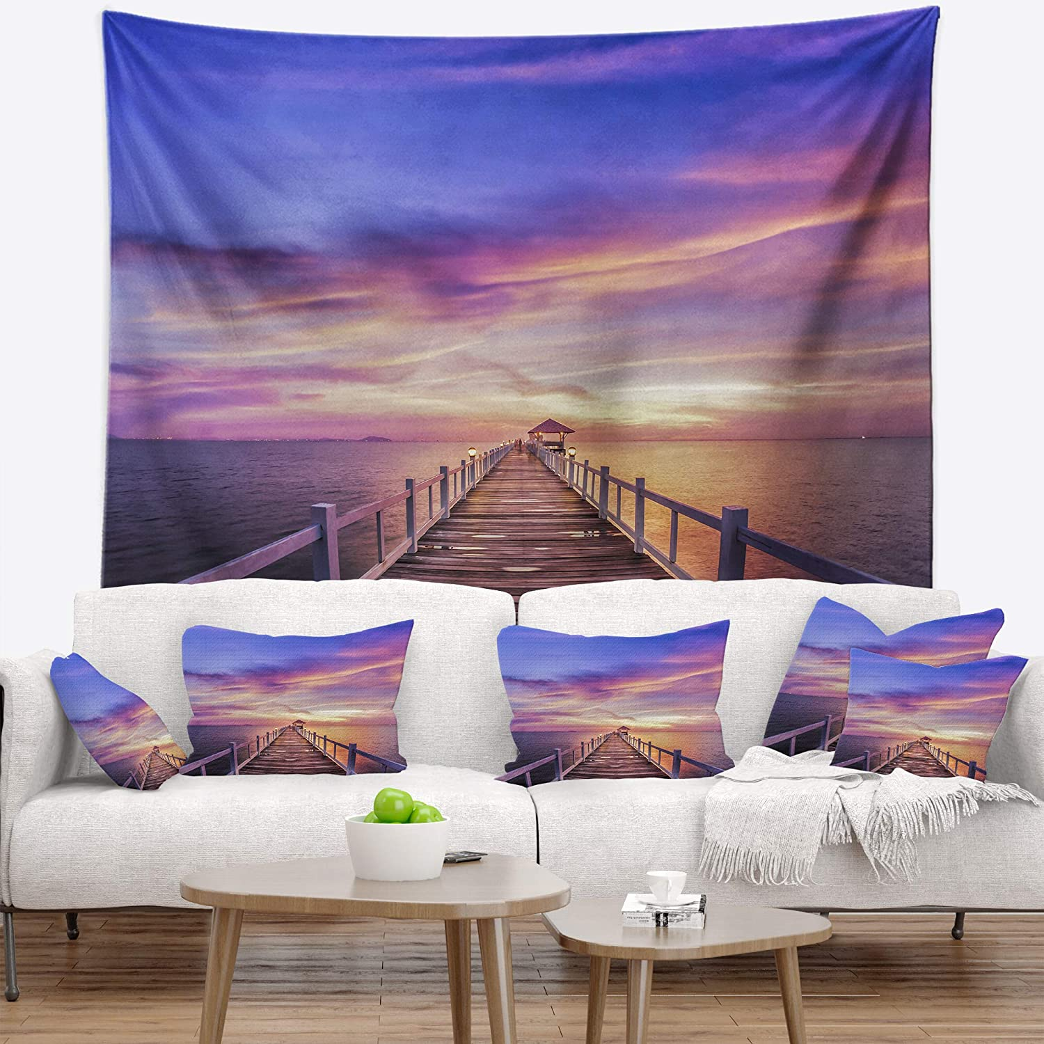 Created On Lightweight Polyester Fabric Designart TAP10614-39-32 Wooden Bridge Under Purple Sky Pier Seascape Blanket D/écor Art for Home and Office Wall Tapestry x 32 in Medium: 39 in