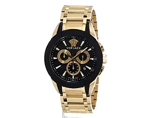 Amazon.com: Versace Mens VQN060015 Character Gold-Tone Stainless Steel Watch: Watches