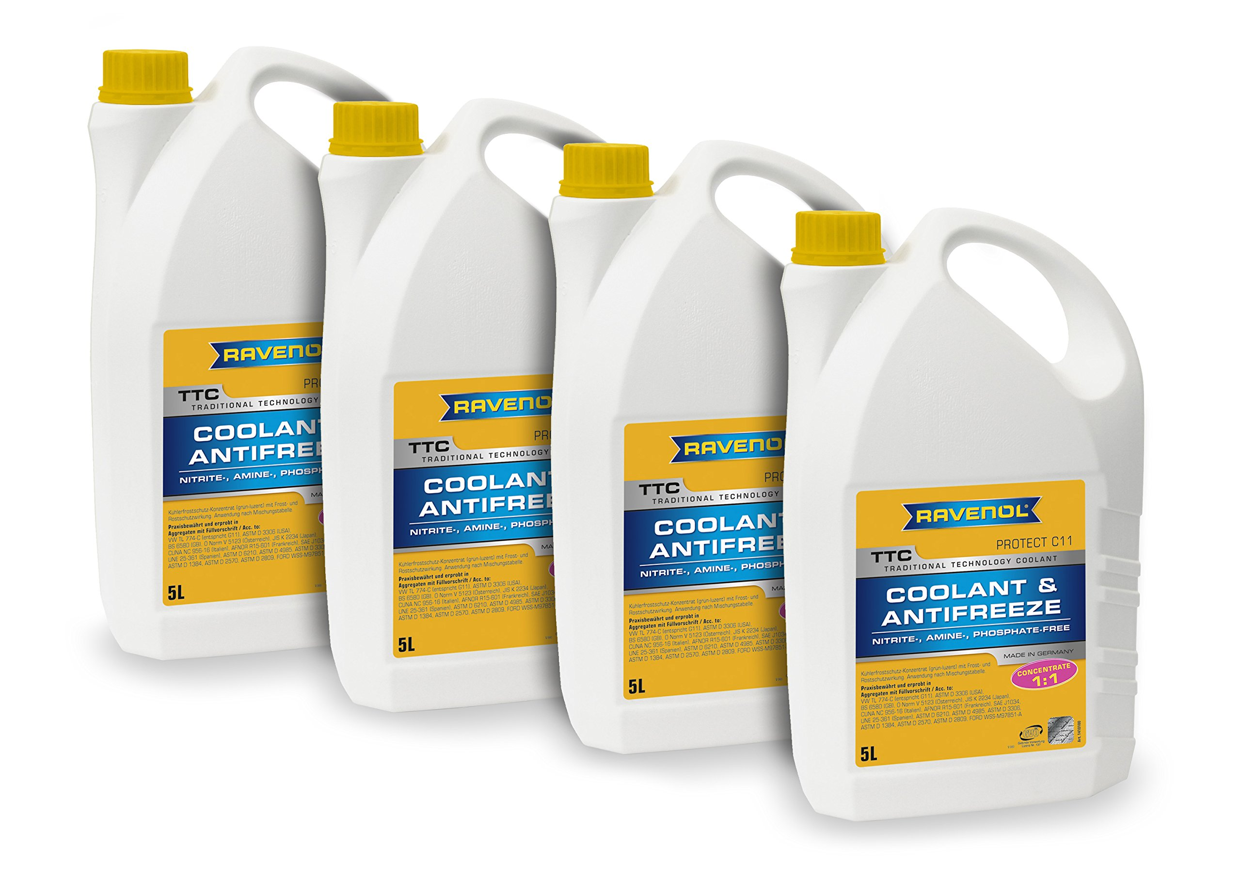 RAVENOL J4D2078-04 Coolant Antifreeze - TTC Concentrate C11, VW TL 774-C (G11) (5L, Case of 4) by Ravenol