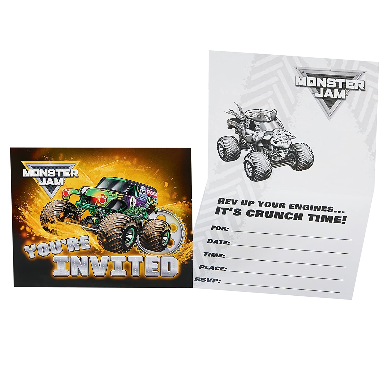 Amazon.com: BirthdayExpress Monster Jam Party Supplies - Invitations ...