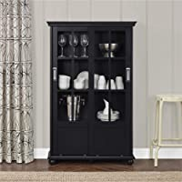 Altra Furniture Altra Aaron Lane Bookcase with Sliding Glass Doors, black