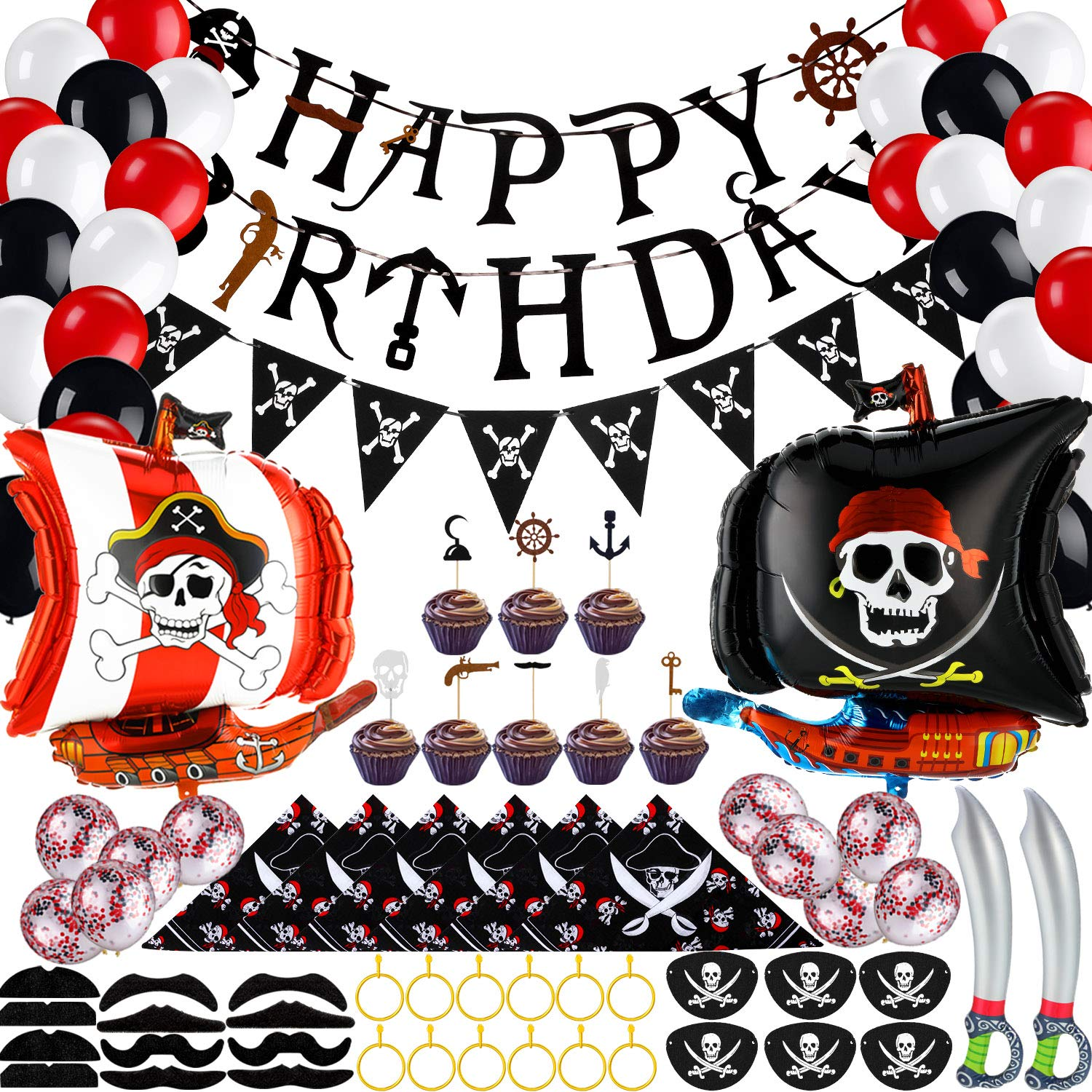 98 Pieces Pirate Birthday Party Decoration, Pirate Birthday Banner Balloons Mustaches Cupcake Topper Captain Eye Patches Bandana Inflatable Sword Plastic Gold Earring for Pirate Theme Party Supplies