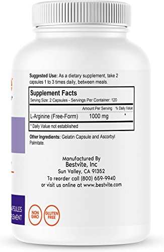 L-Arginine 500mg 240 Capsules – No Stearates – No Fillers – Non GMO – Gluten Free