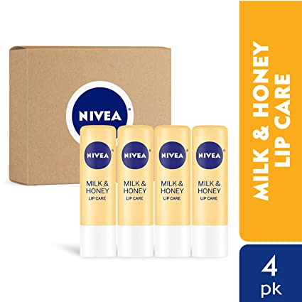 NIVEA Milk & Honey Lip Care - Moisturized Lips All Day - 0.17 oz Tube - 4 Pack best lip balms