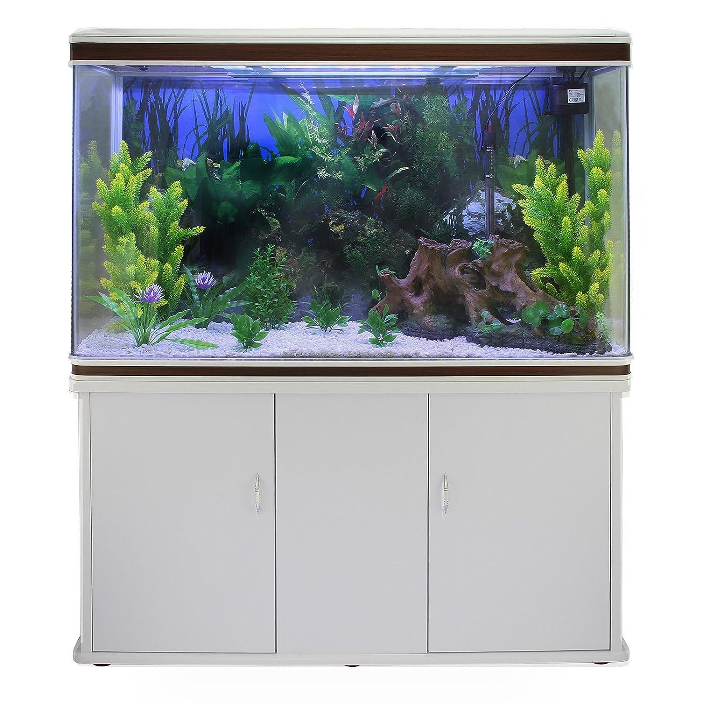 MonsterShop - Acuario 300 Litros con Mueble Blanco y Kit con Plantas y Grava Blanca 143cm x 120cm x 39cm: Amazon.es: Hogar
