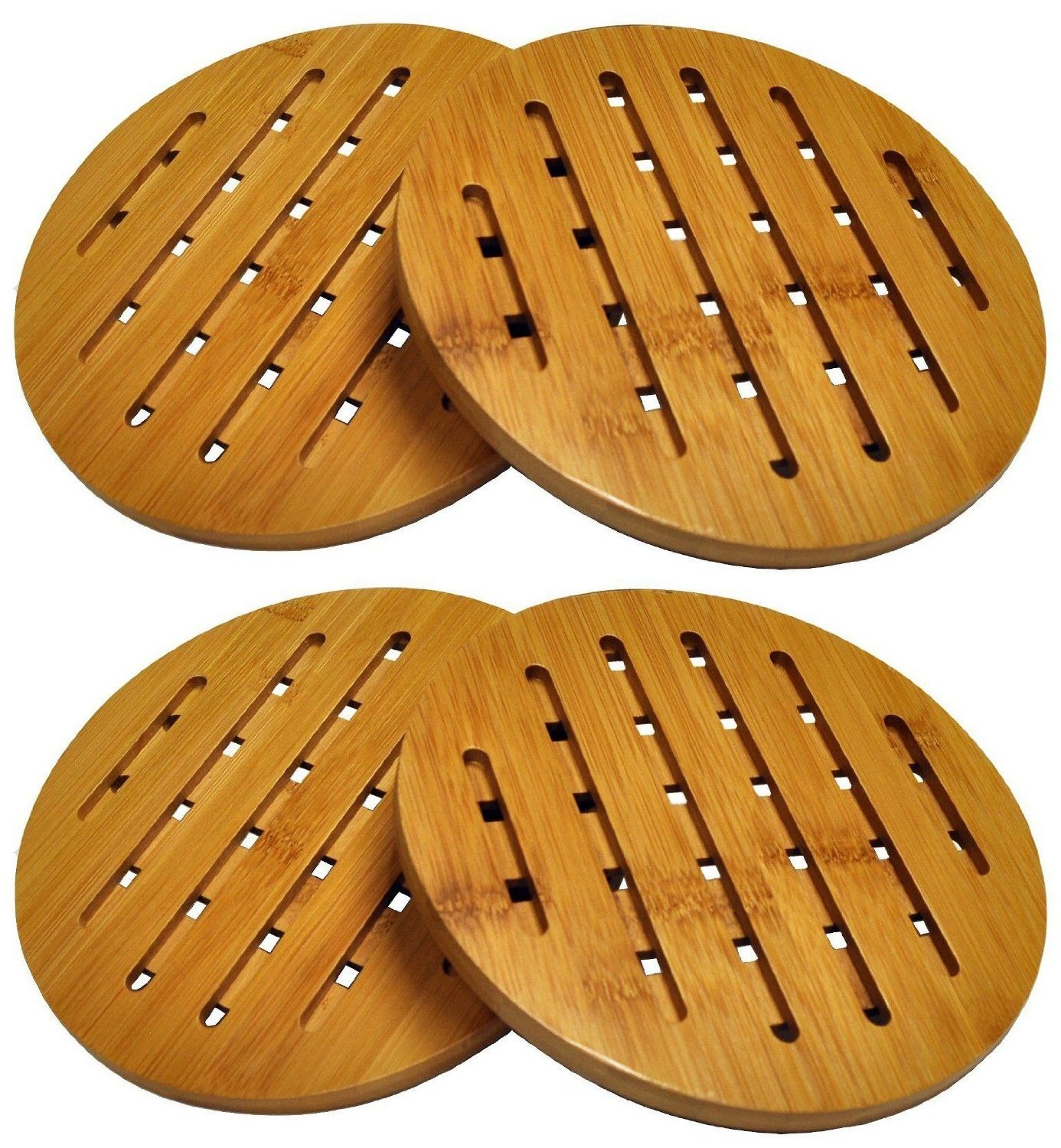 HealthPro Organic Moso Bamboo Collection Heavy Duty Trivet Set (4) by ProHealth