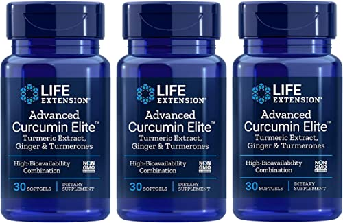 Life Extension Advanced Bio-curcumin with Ginger 30 Softgels 3-Pack