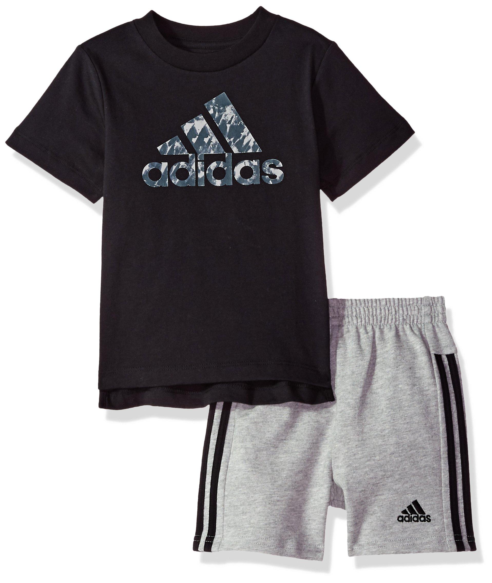 adidas Baby Boys Short Sleeve Tee and Short Set, Black Adi, 18M