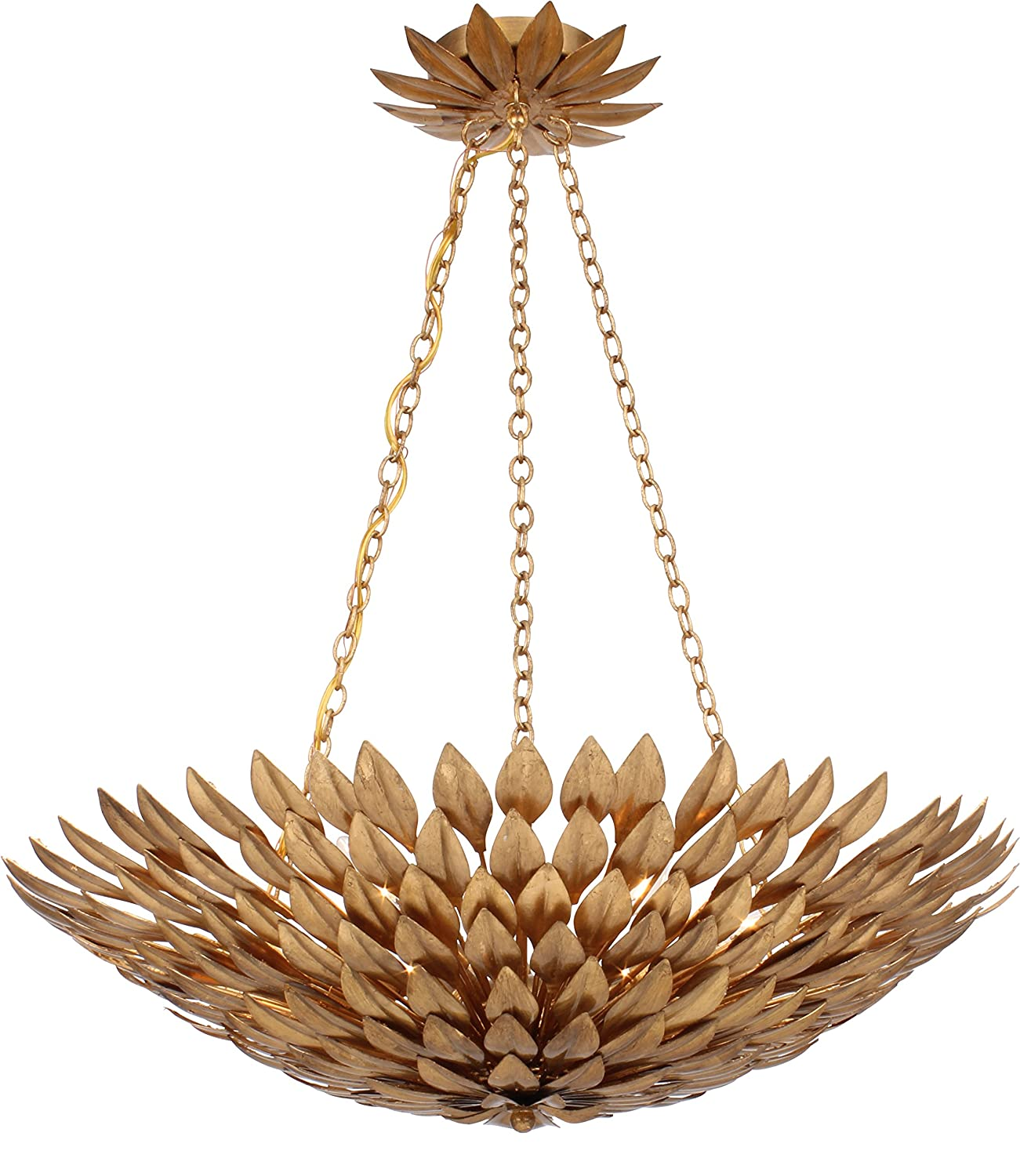 Crystorama 517-GA Leaf, Flower, Fruit Six Light Chandelier from Broche  collection in Gold, Champ, Gld Leaffinish, - Ceiling Pendant Fixtures -  Amazon.com - Crystorama 517-GA Leaf, Flower, Fruit Six Light Chandelier From