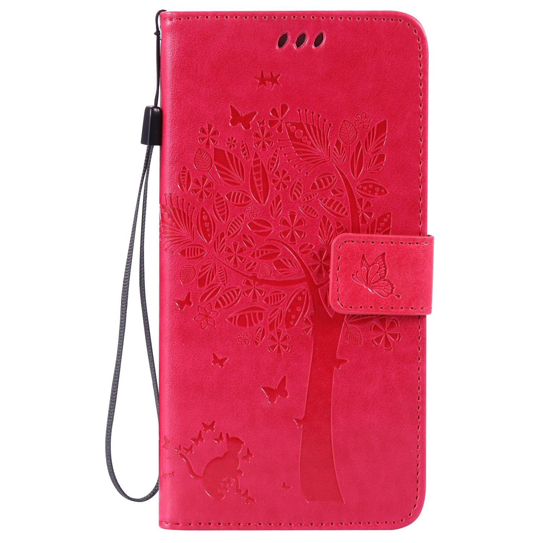 IKASEFU PUレザーバタフライツリー猫デザインヴィンテージ/レトロ財布フリップストラップ保護ケースカバースタンドとカードホルダー付きIphone 6 Plus / 6s Plus 5.5
