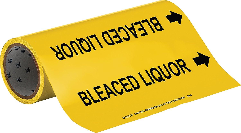 Black On Yellow Pressure Sensitive Vinyl Brady 52642 Roll Form Pipe Markers B-946 Legend Bleaced Liquor 12 X 30/' Legend Bleaced Liquor 12 X 30