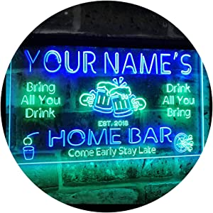 ADVPRO Personalized Your Name Custom Home Bar Beer Established Year Dual Color LED Neon Sign Green & Blue 24 x 16 Inches st6s64-p1-tm-gb