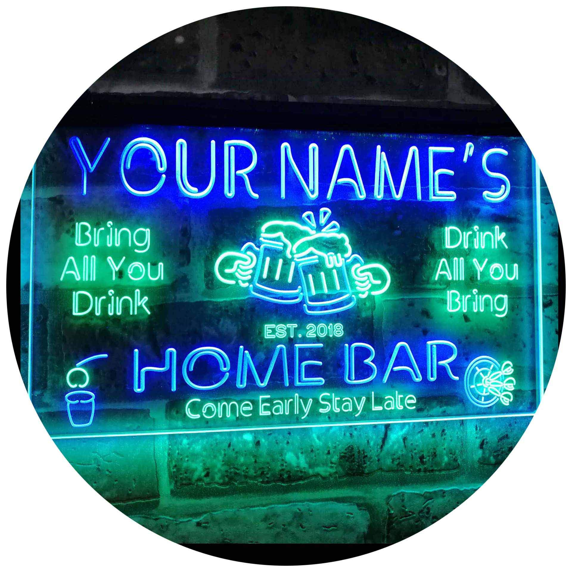 ADVPRO Personalized Your Name Custom Home Bar Beer Established Year Dual Color LED Neon Sign Green & Blue 16 x 12 Inches st6s43-p1-tm-gb