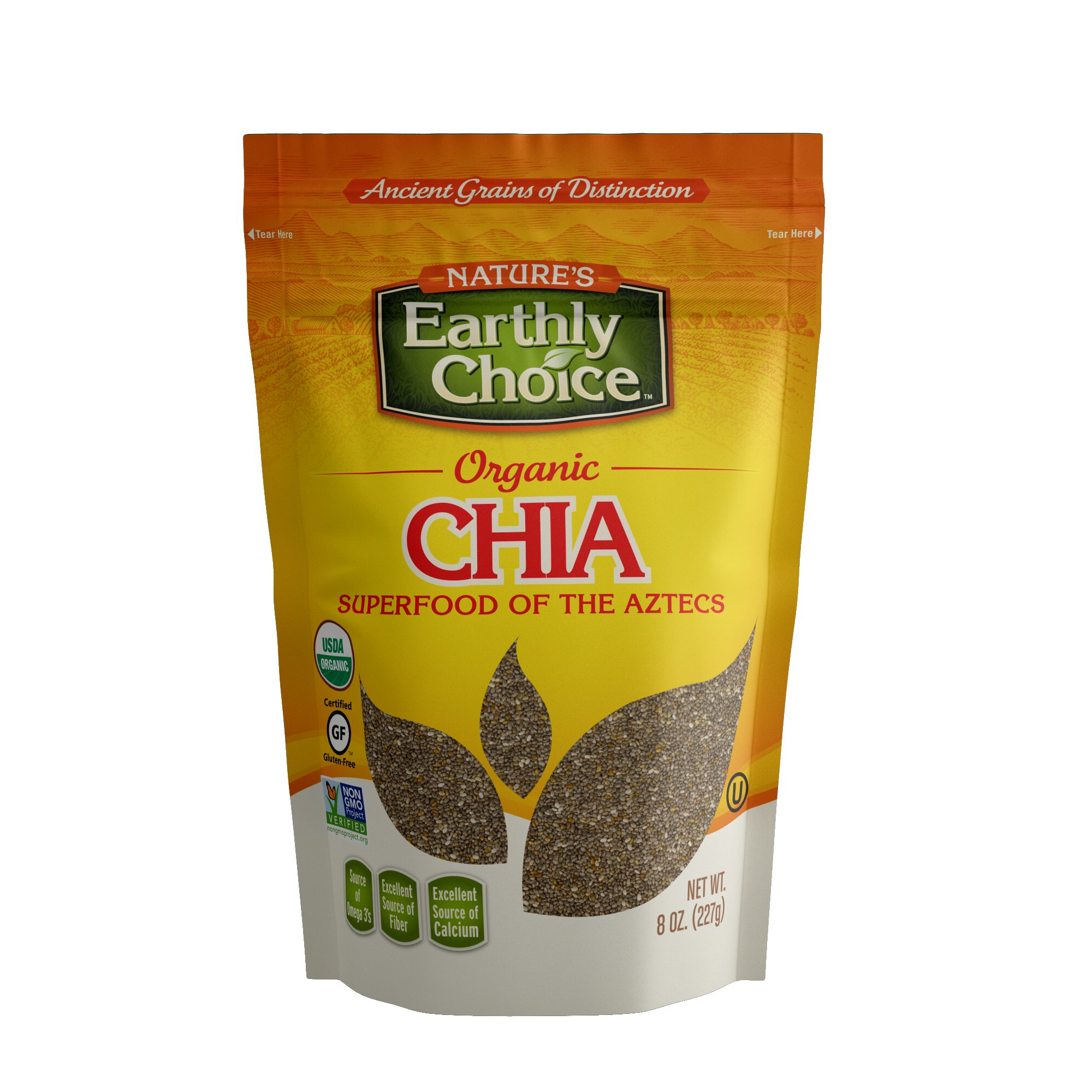 Nature's Earthly Choice Organic Chia Seed, 8 Ounce (Pack of 6)