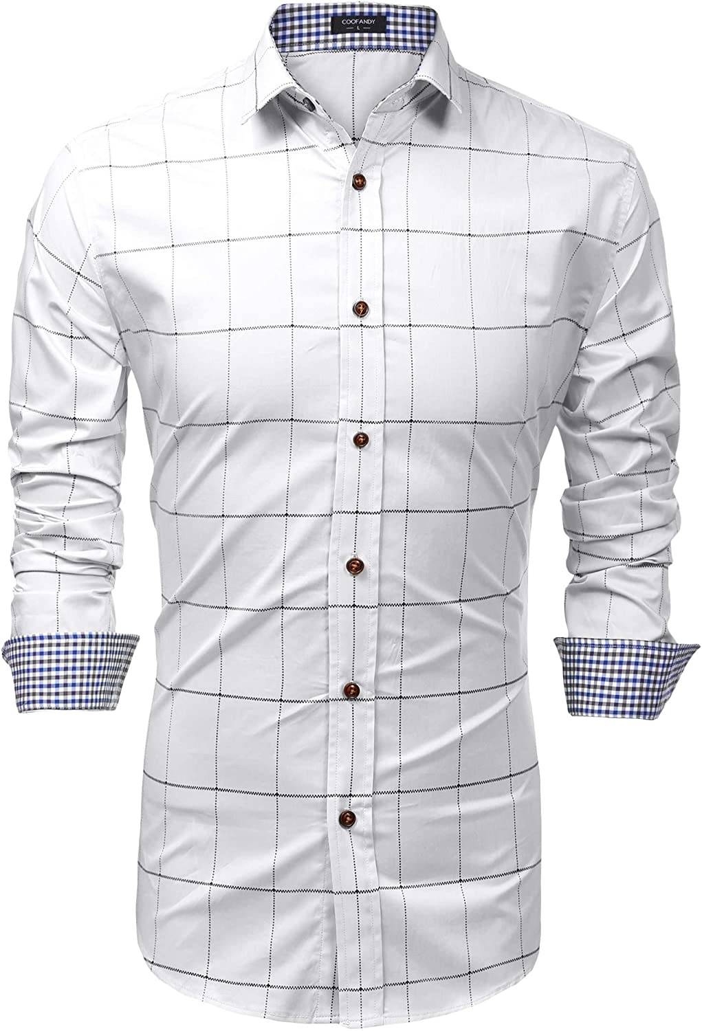 etuoji Mens Fashion Long Sleeve Plaid Button Down Casual Shirts