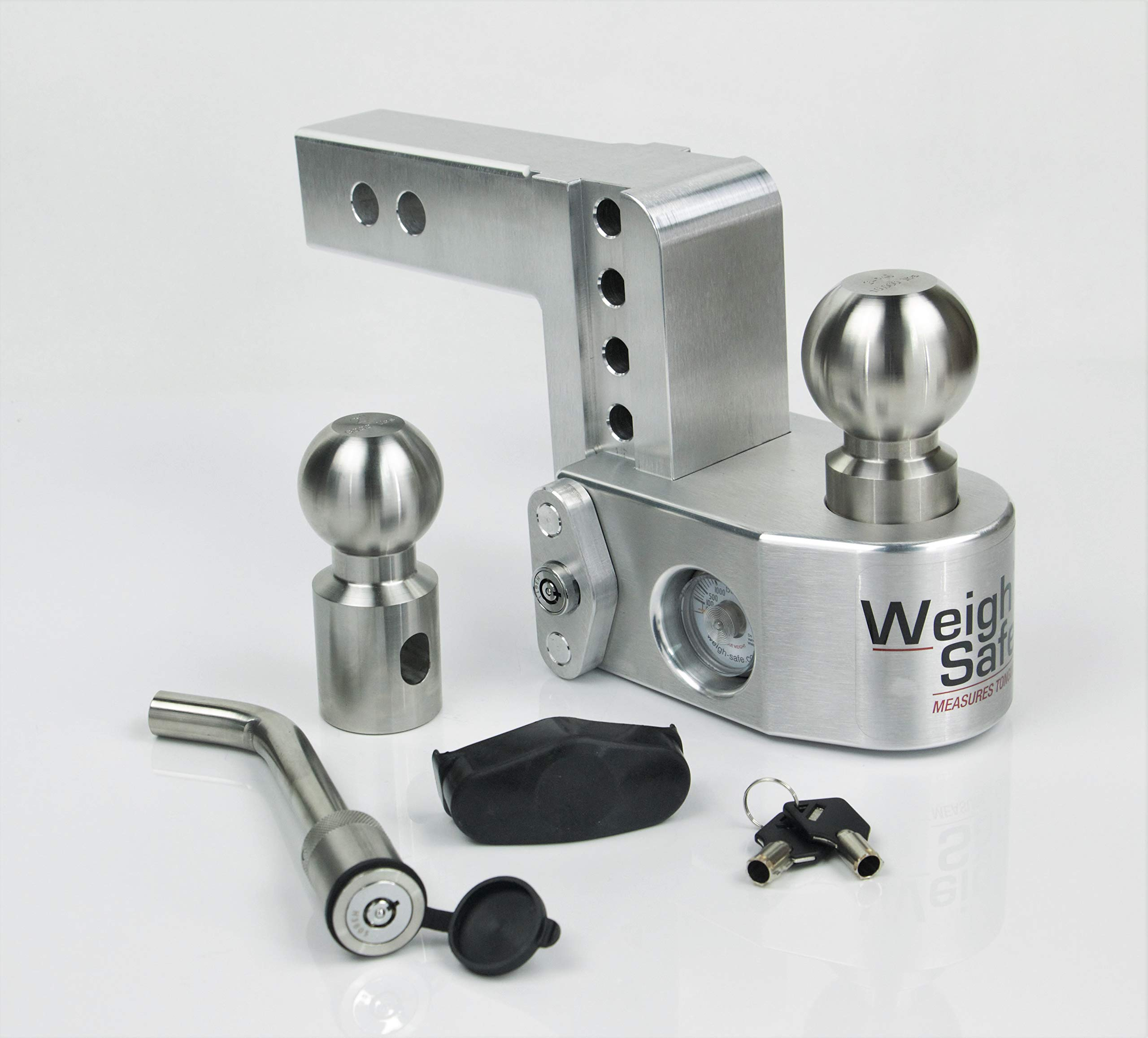 Weigh Safe WS4-2-KA, 4'' Drop Hitch w/ 2'' Shank/Shaft - Adjustable Aluminum Trailer Hitch & Ball Mount w/Built-in Scale, 2 Stainless Steel Balls (2'' & 2-5/16'') Keyed Alike Key Lock and Hitch Pin