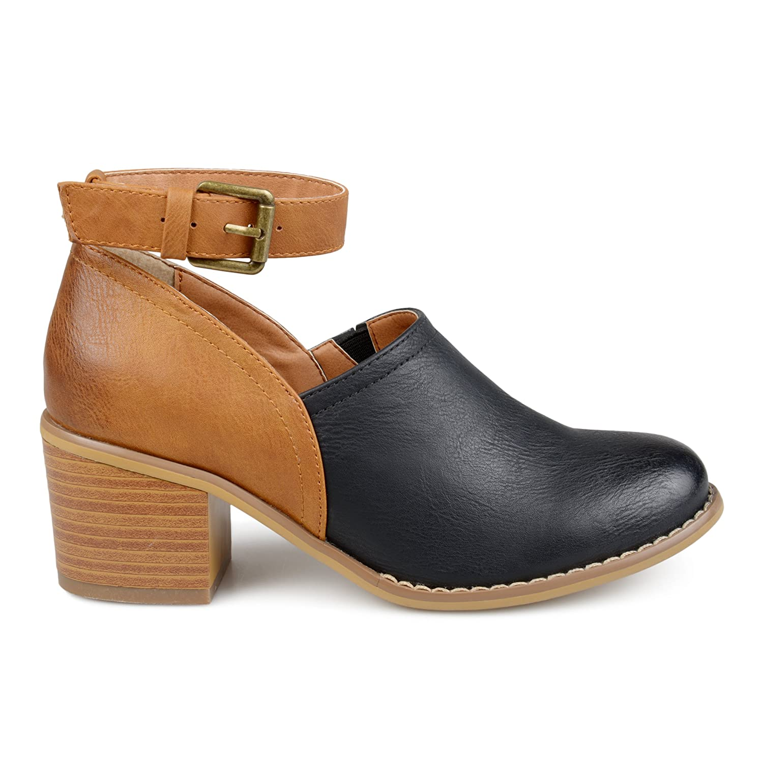 Brinley Co Womens Faux Leather Wood Stacked Heel Ankle Strap Clogs