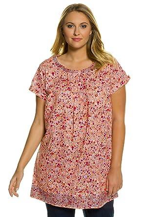 8acf467e3b9 Ulla Popken Women s Plus Size Embroidered Trim Floral Pleat Cotton Tunic  Blouse. Multi 12