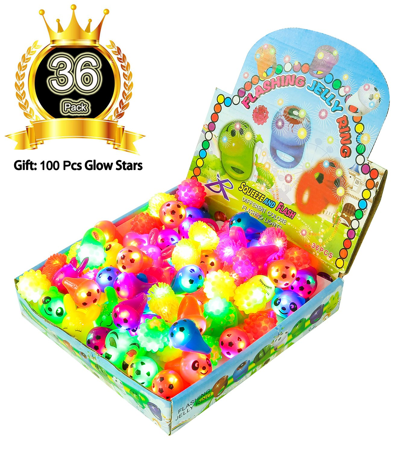Mikulala 36 Pack Glow In The Dark Party Favors for Kids Light Up Rings Toys(6 Colors 10 Shapes) with 100 Pcs Stars - Party Supplies, kid prizes, Flashing Led Jelly Bumpy Rings for Birthday, Football by Mikulala