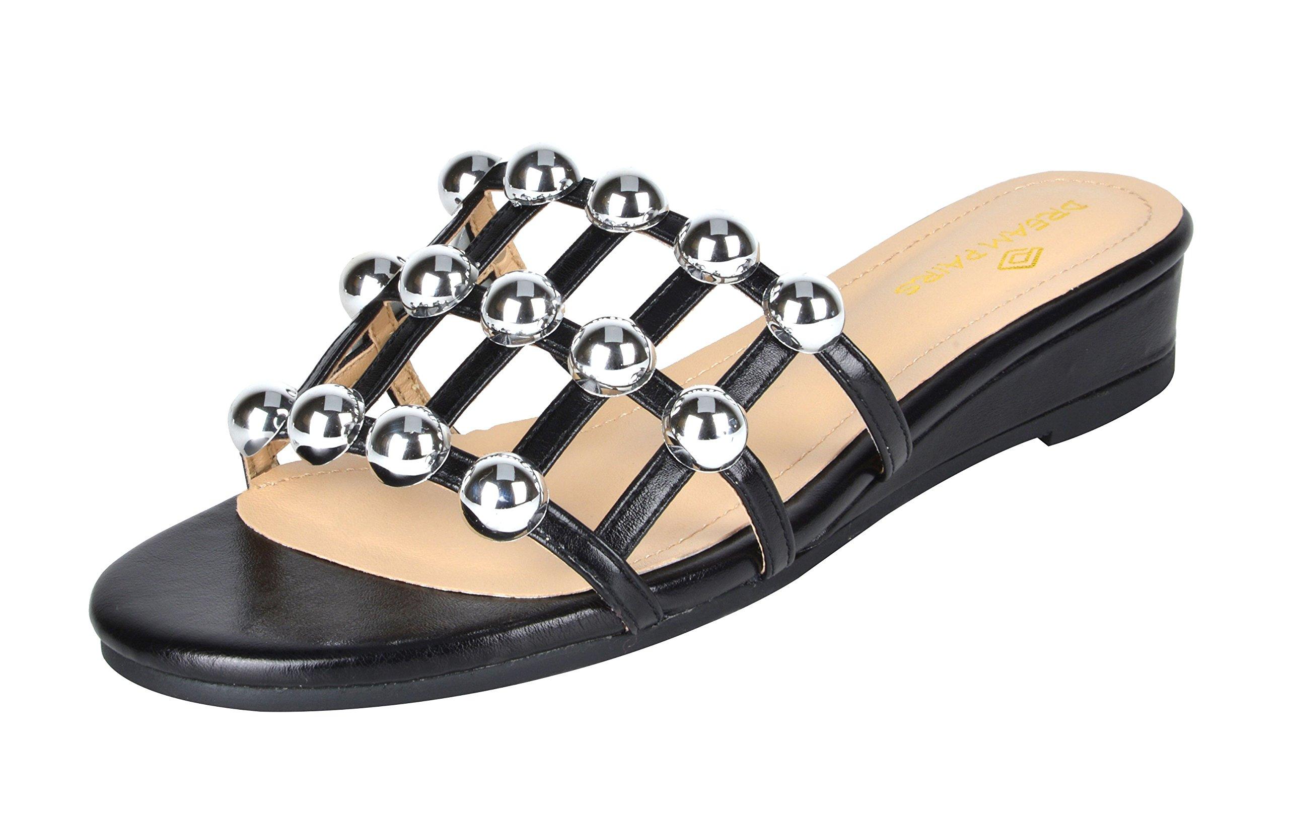 DREAM PAIRS Women's Formosa_5 Black Low Platform Wedges Slides Sandals Size 11 B(M) US