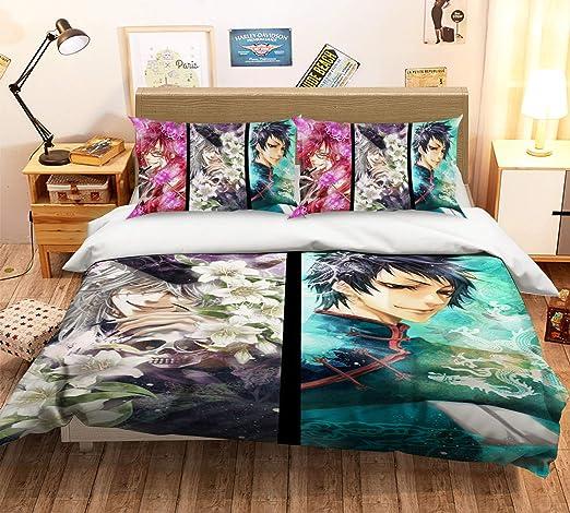 3D Blue Water Light 8 Bed Pillowcases Quilt Duvet Cover Set Single Queen King CA