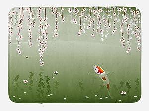 "Lunarable Koi Fish Bath Mat, Japanese Koi Fish Painting Style Hanging Cherry Flowers Floating Leaves, Plush Bathroom Decor Mat with Non Slip Backing, 29.5"" X 17.5"", Orange White"