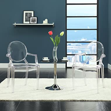 Modway Casper Modern Acrylic Dining Armchairs in Clear - Set of 2