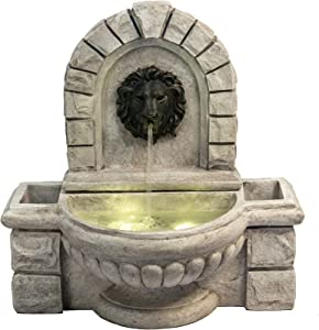 """Peaktop VFD8431 Indoor Outdoor Wall Mounted Lion Head Waterfall Water Fountain with LED Pump for Patio Garden Backyard Decking, 28"""" Height, Light Brown"""