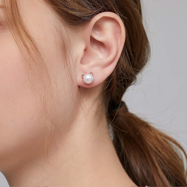 925 Sterling Silver Bunny Rabbit Stud Earrings Hypoallergenic Cat Stud Earrings Safe for Sensitive Ears ZowBinBin Handpicked Freshwater Cultured White Pearl Stud Earrings for Women Girls
