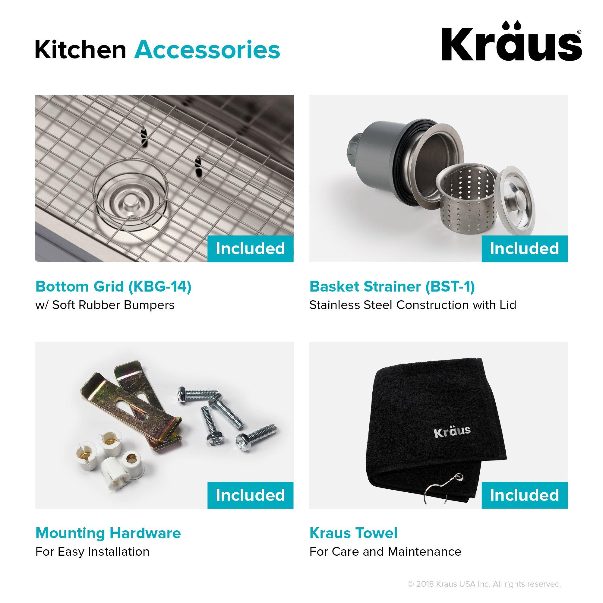 Kraus KBU14 31-1/2 inch Undermount Single Bowl 16-gauge Stainless Steel Kitchen Sink by Kraus (Image #10)