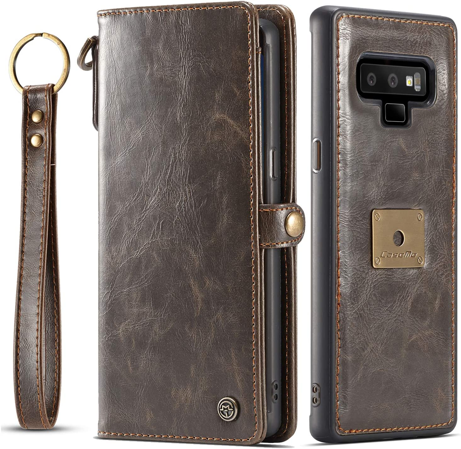 Galaxy Note 9 Case, Samsung Note 9 Case XRPow Detachable Magnetic Leather Wallet Folio Flip Card Slots Removable Slim Cover for Samsung Galaxy Note 9 with Wrist Strap Brown