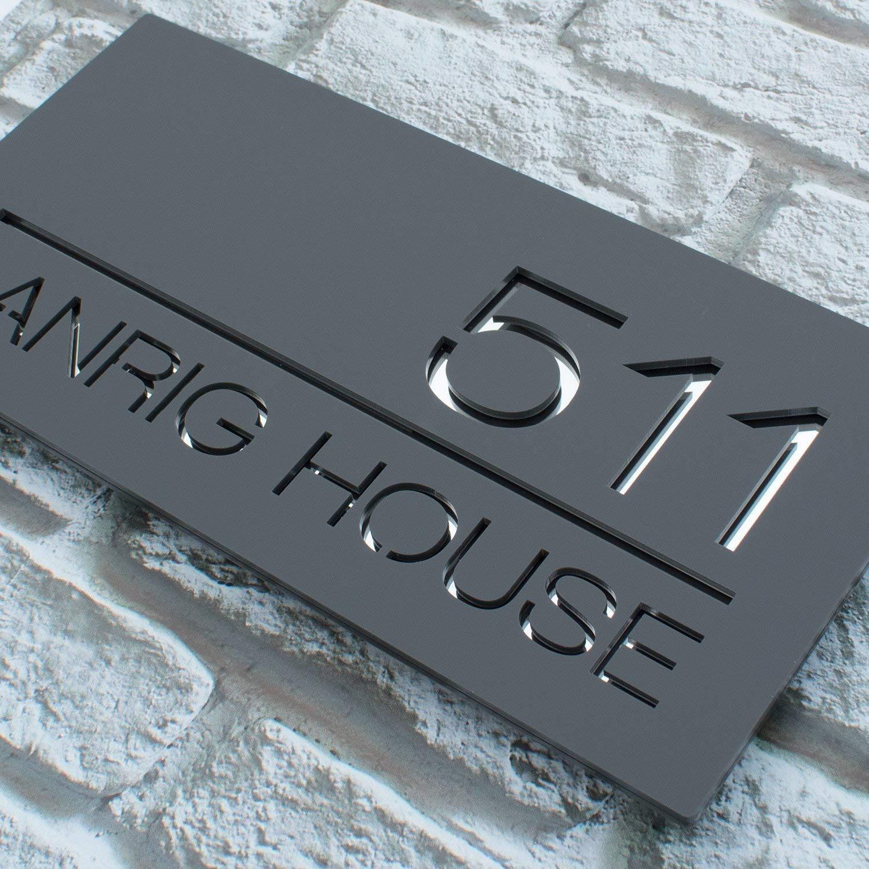 025facf1a79 Contemporary Acrylic Floating Rectangular House Sign - Modern Door Number  Plaque  Amazon.co.uk  Handmade