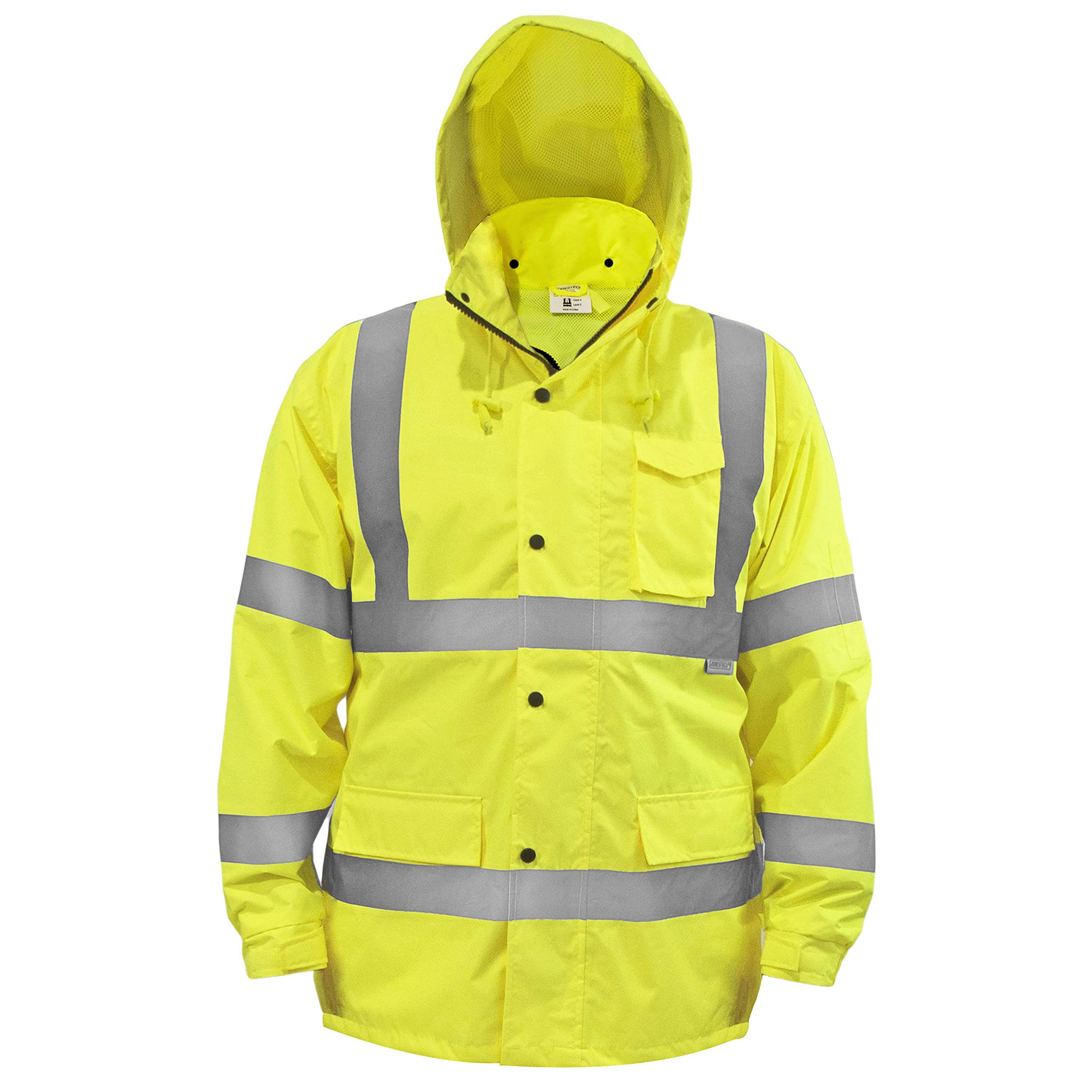 JORESTECH Safety Rain Jacket Waterproof Reflective High Visibility with Detachable Hood and Interior Mesh Yellow/Lime ANSI Class 3 Level 2 Type R JK-03 (XL) by JORESTECH