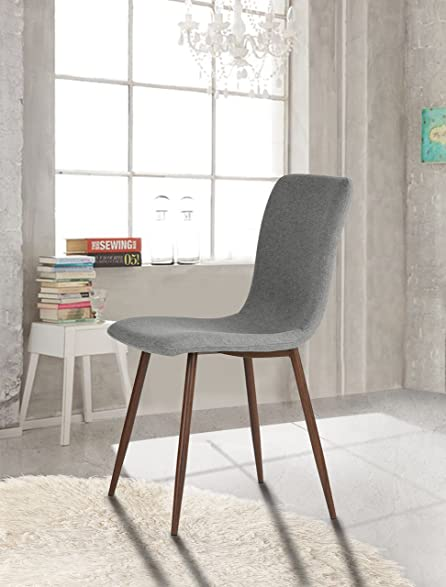 Set Of 4 Eames Style Side Dining Chair Brown Metal Legs Fabric Cushion Seat And Back