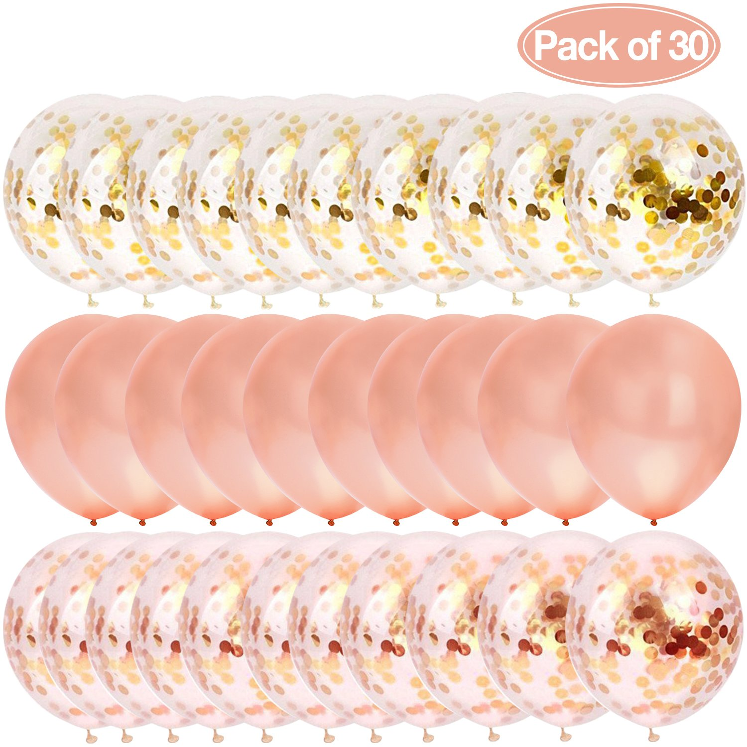 AOSTAR 30Pcs Clear Balloons Rose Gold Confetti Dots 12 Latex Birthday Party, Wedding, Bridal Baby Shower and Holidays (30 Piece)