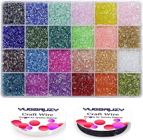 21000pcs Beading Glass Seed Beads 3mm, 24colors-Glass Beads B 3mm Pony Tube Beads Kit with Crystal Rope for Clothes Decoration DIY Bracelets Earring Jewelry Making