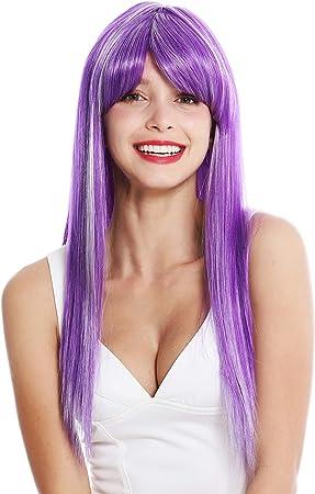 WIG ME UP- VK-8-F11-60 peluca de mujer pelo largo liso flequillolargo raya color lila mechas blancas: Amazon.es: Belleza