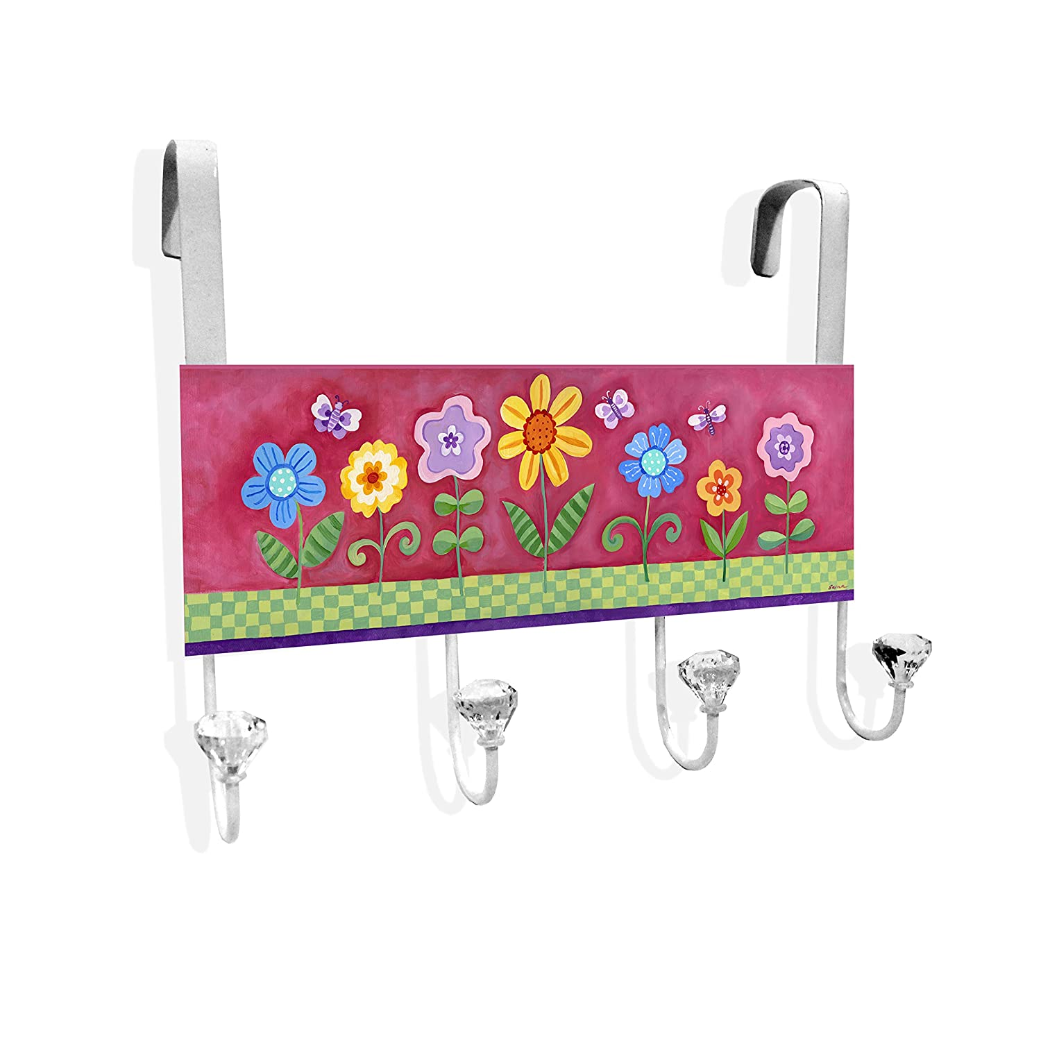 The Kids Room by Stupell Flowers and Butterflies Over the Door Hanger Stupell Industries DKOTD-102