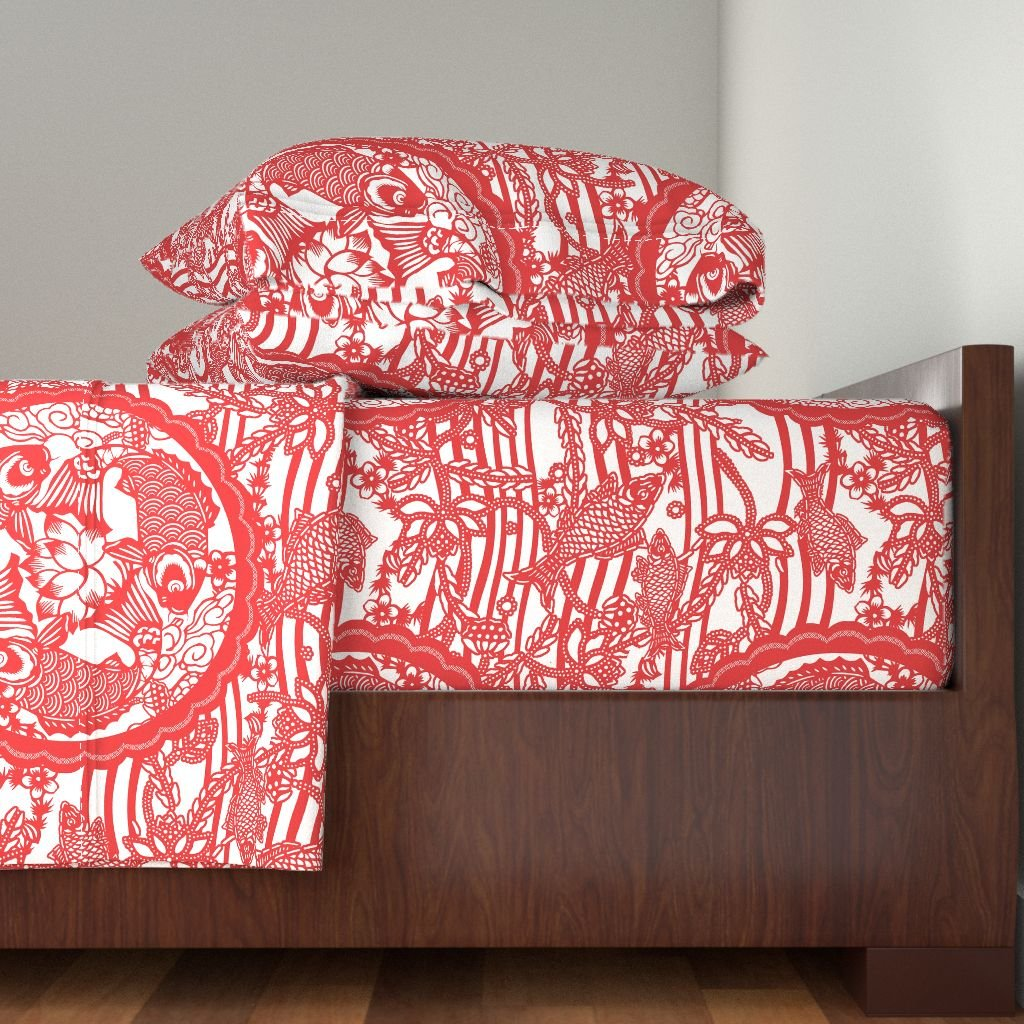 Roostery Float 3pc Sheet Set Dance Of The Red Carp by Chicca Besso Twin Sheet Set made with