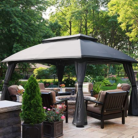 Amazon Com Abccanopy Gazebo 10x13 Patio Gazebo Double Soft Top Garden Gazebos With Mosquito Netting For Patios Yard Garden Or Outdoor Event Dark Gray Garden Outdoor