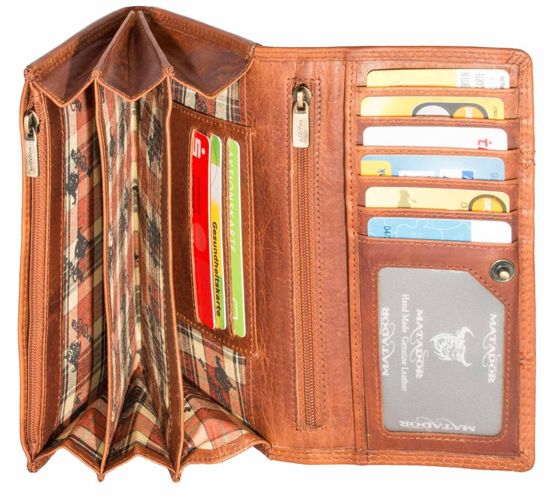 52a374c19831c MATADOR Damen Leder Langbörse Geldbörse Geldbeutel Portemonnaie Geldtasche  RFID 13 Fächer Vintage Braun  Amazon.de  Koffer