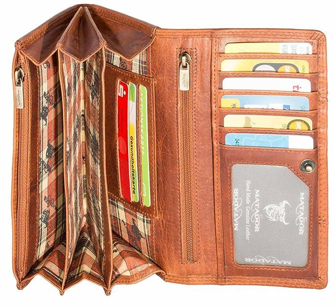 5ec764ef0e98a MATADOR Damen Leder Langbörse Geldbörse Geldbeutel Portemonnaie Geldtasche  RFID 13 Fächer Vintage Braun  Amazon.de  Koffer