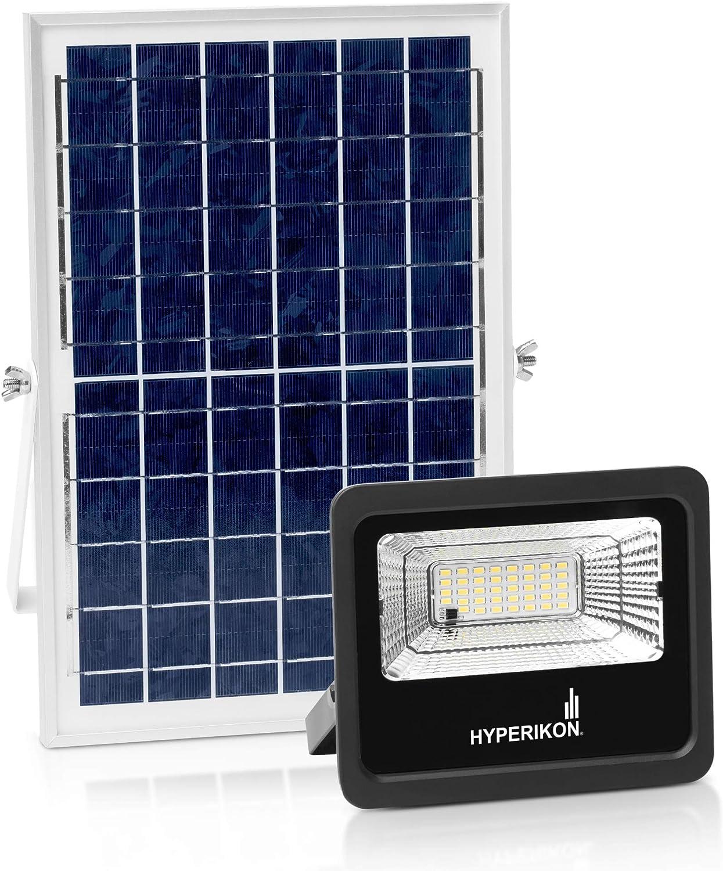 Hyperikon Solar Flood Light LED, Outdoor Security Lighting Fixture, Remote Controlled, Light Sensor, 25 Watts